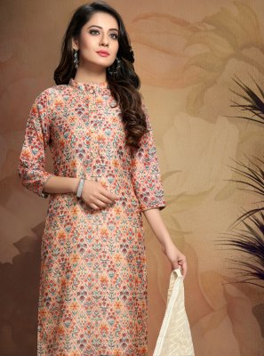 Printed Peach Chanderi Salwar Suit