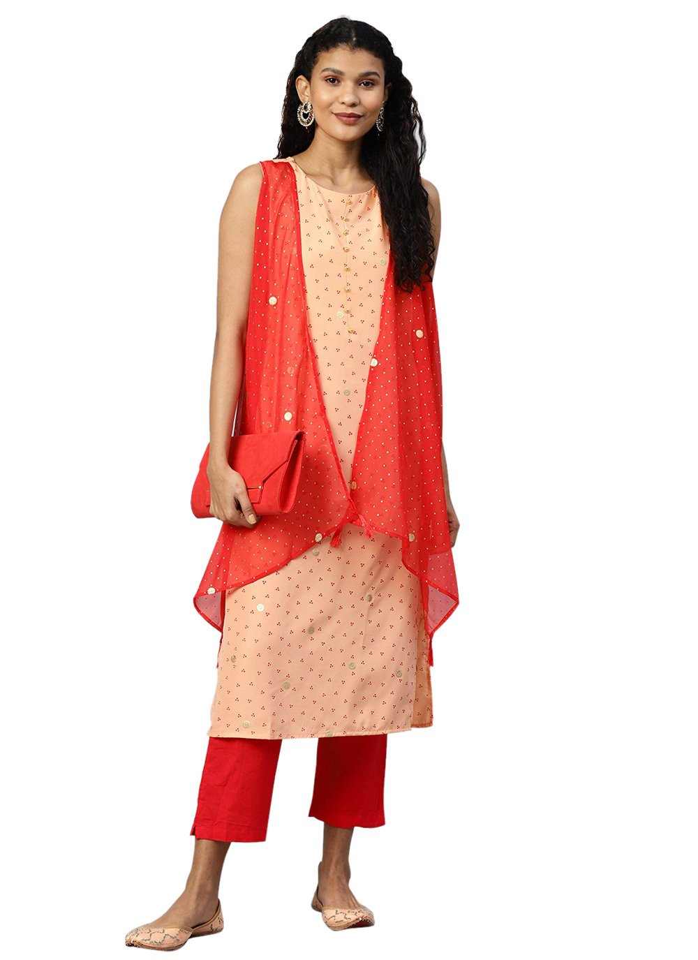 Printed Peach Faux Crepe Party Wear Kurti