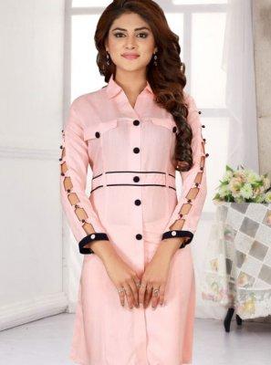 Printed Pink Casual Kurti