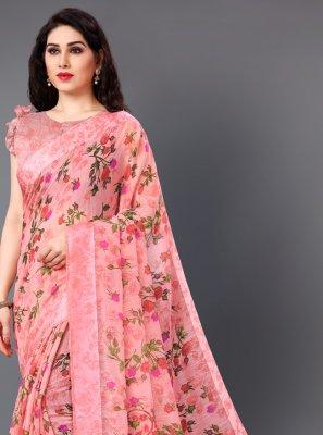 Printed Pink Casual Saree