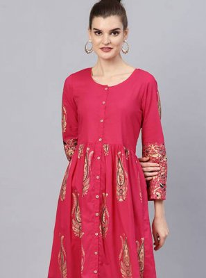 Printed Pink Cotton Salwar Suit