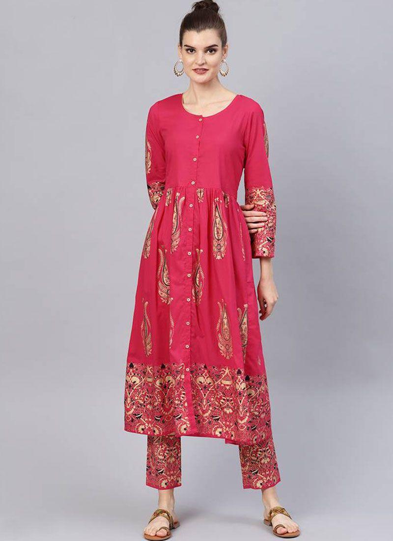 Printed Pink Cotton Salwar Suit
