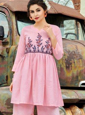 Printed Pink Designer Palazzo Salwar Kameez