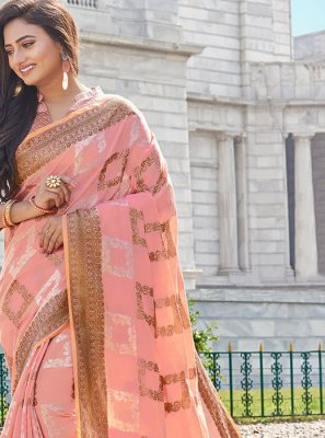 Printed Pink Handloom Cotton Classic Saree