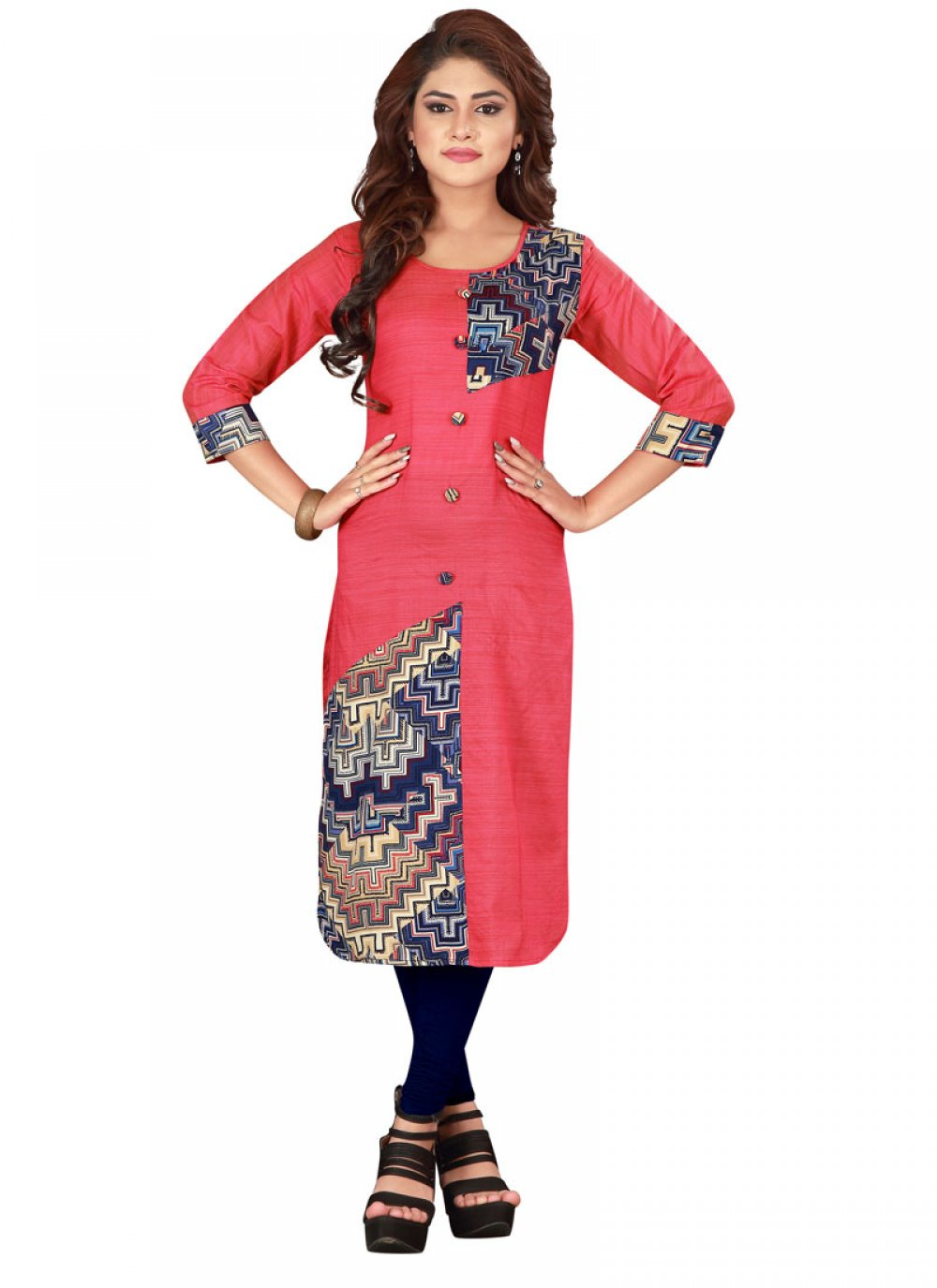 Printed Pink Party Wear Kurti
