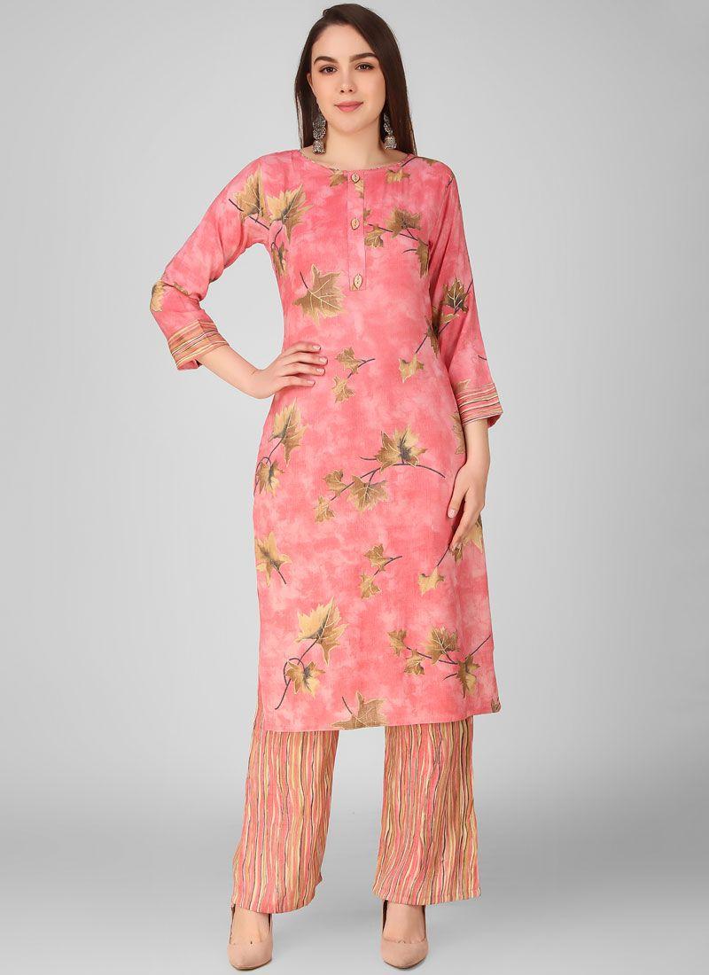 Printed Pink Rayon Salwar Suit