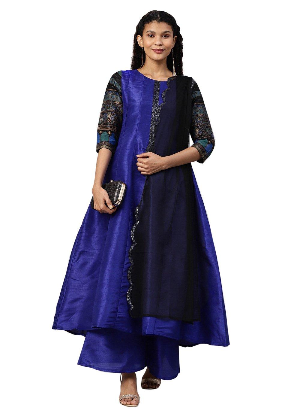 Printed Poly Silk Designer Salwar Suit in Blue