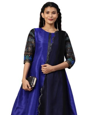 Printed Poly Silk Designer Salwar Suit in Blue