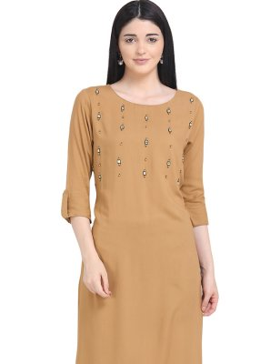 Printed Rayon Brown Party Wear Kurti