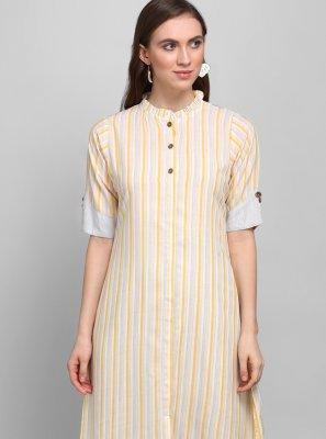 Printed Rayon Designer Kurti in Grey and Yellow