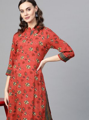 Printed Rayon Designer Kurti in Red