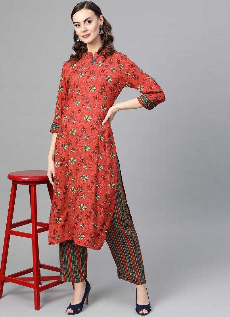 Printed Rayon Designer Kurti in Red