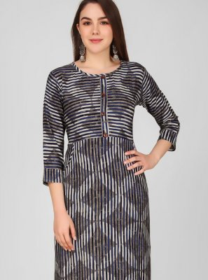 Printed Rayon Grey Party Wear Kurti