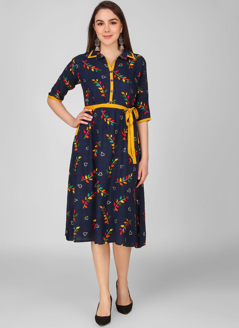 Printed Rayon Party Wear Kurti in Blue