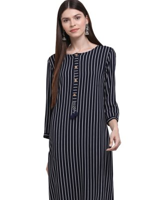 Printed Rayon Party Wear Kurti in Navy Blue