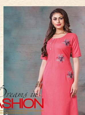 Printed Rayon Party Wear Kurti in Pink