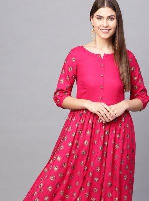 Printed Rayon Pink Designer Kurti