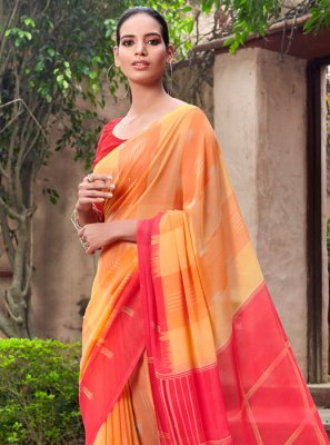 Printed Red and Yellow Half N Half  Saree