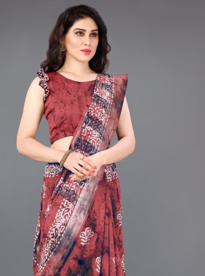 Printed Red Classic Saree
