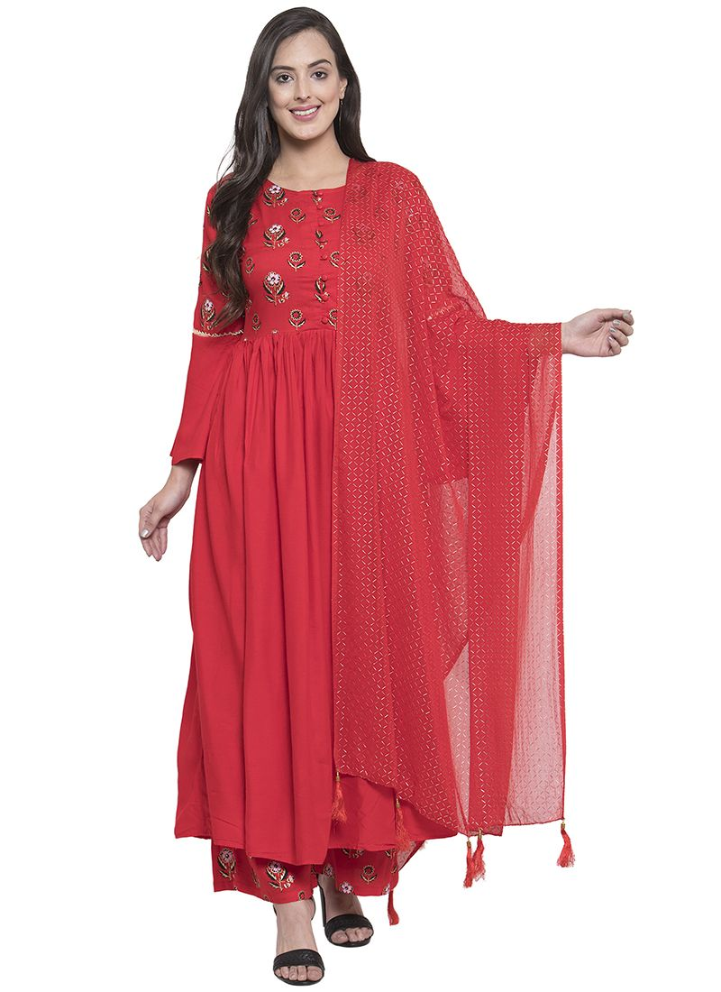 Printed Red Salwar Kameez