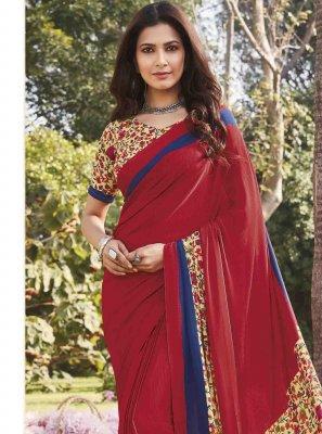 Printed Red Saree