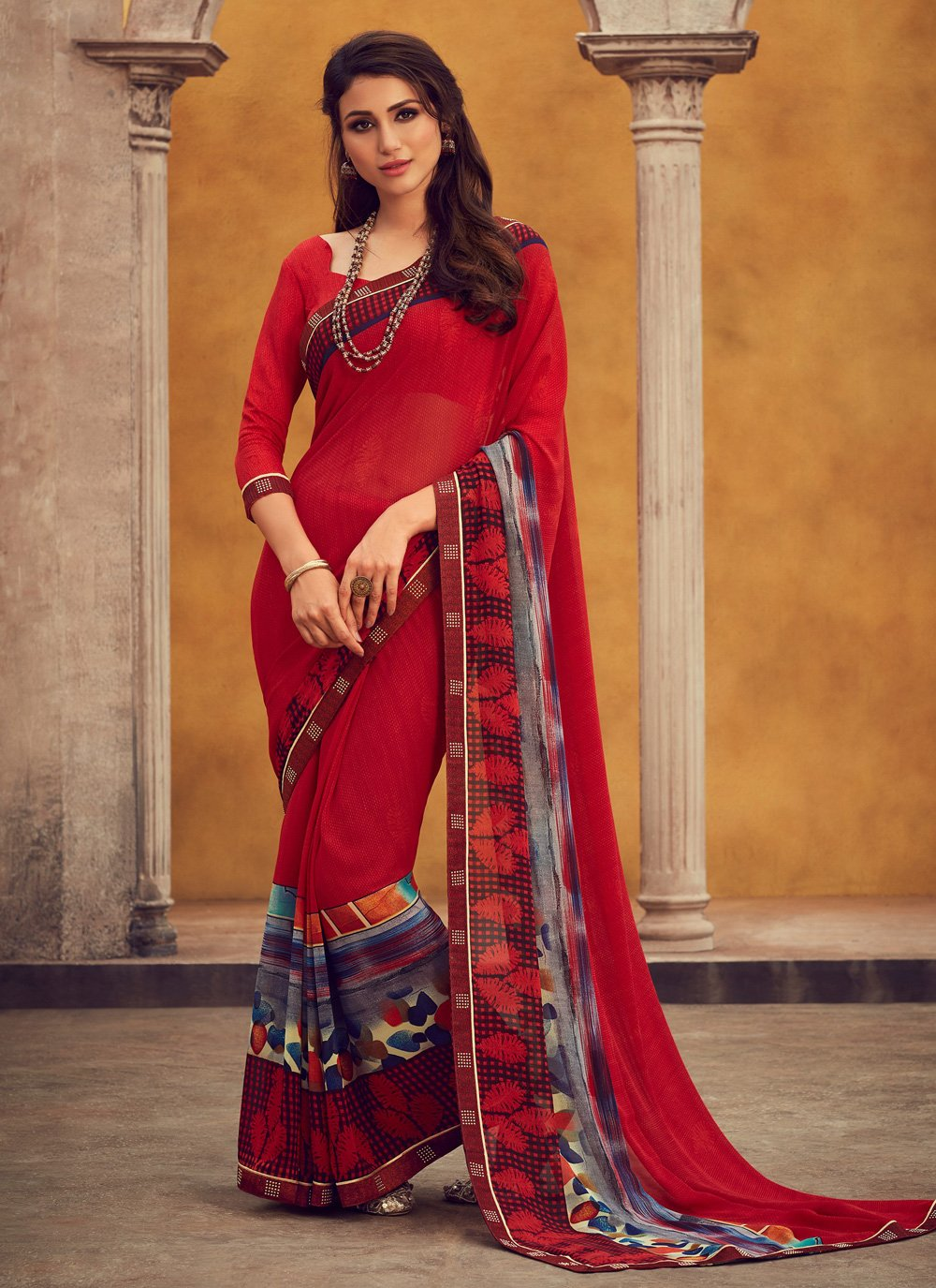 Printed Red Traditional Saree