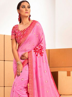 Printed Saree Abstract Print Chanderi in Pink