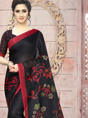 Printed Saree Abstract Print Cotton in Black