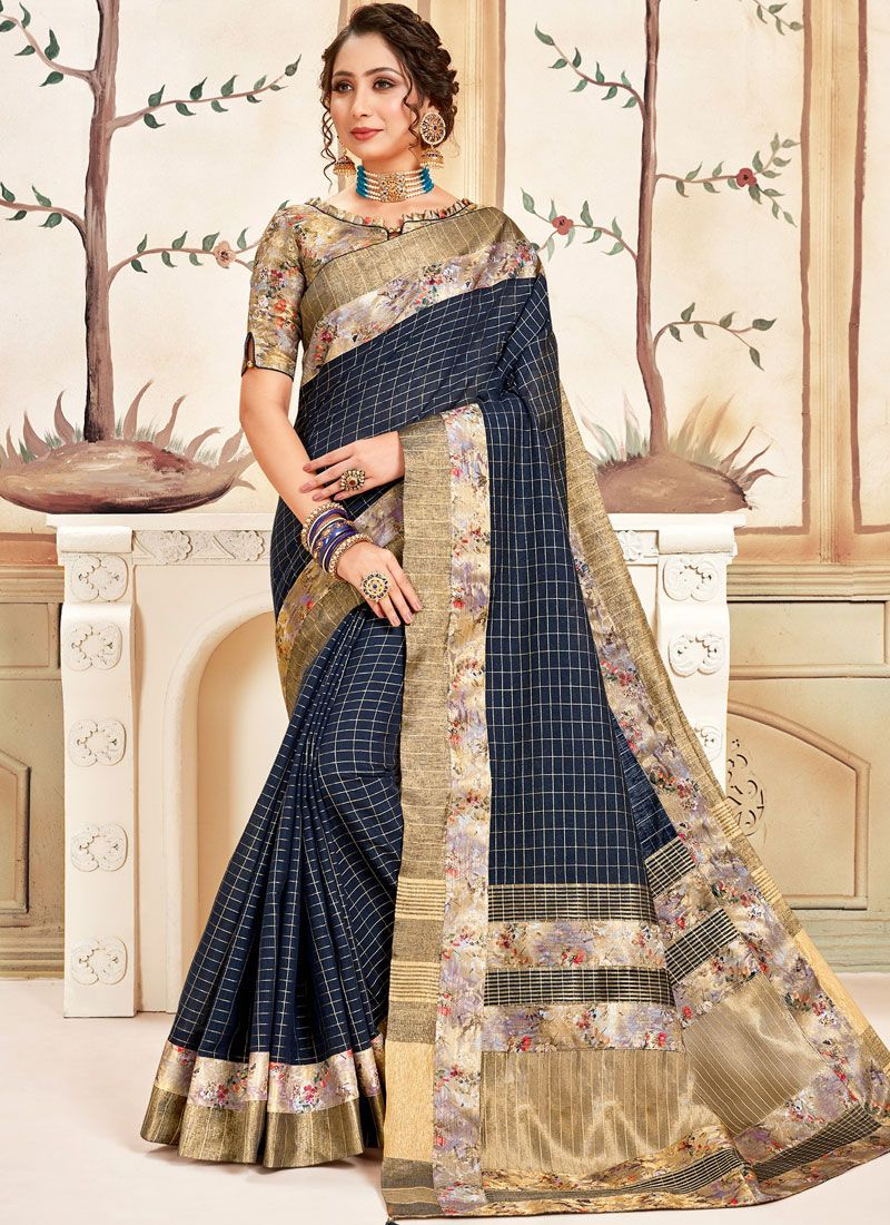 Printed Saree Abstract Print Cotton in Navy Blue