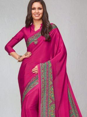 Printed Saree Abstract Print Faux Crepe in Hot Pink