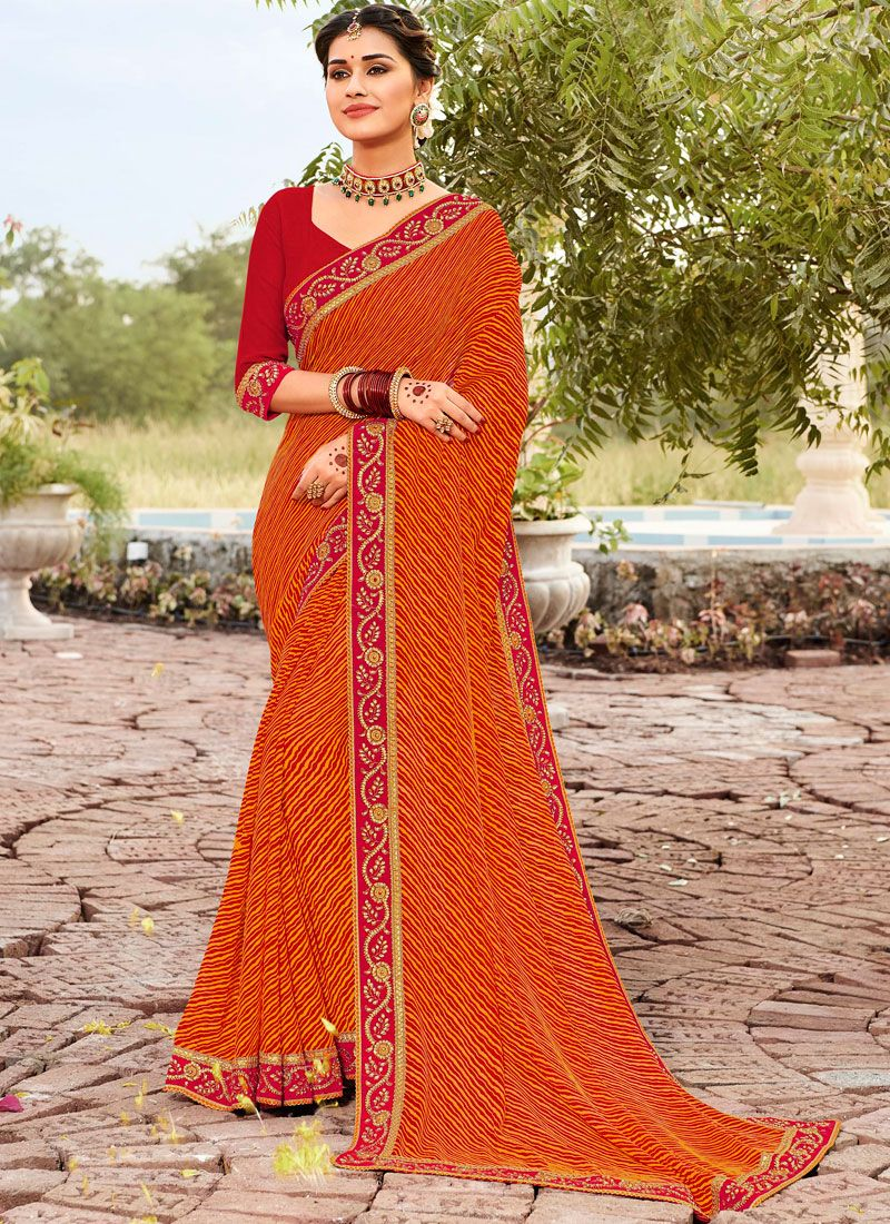 Printed Saree Abstract Print Faux Georgette in Orange