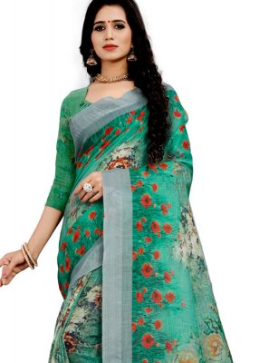 Printed Saree Floral Print Linen in Green
