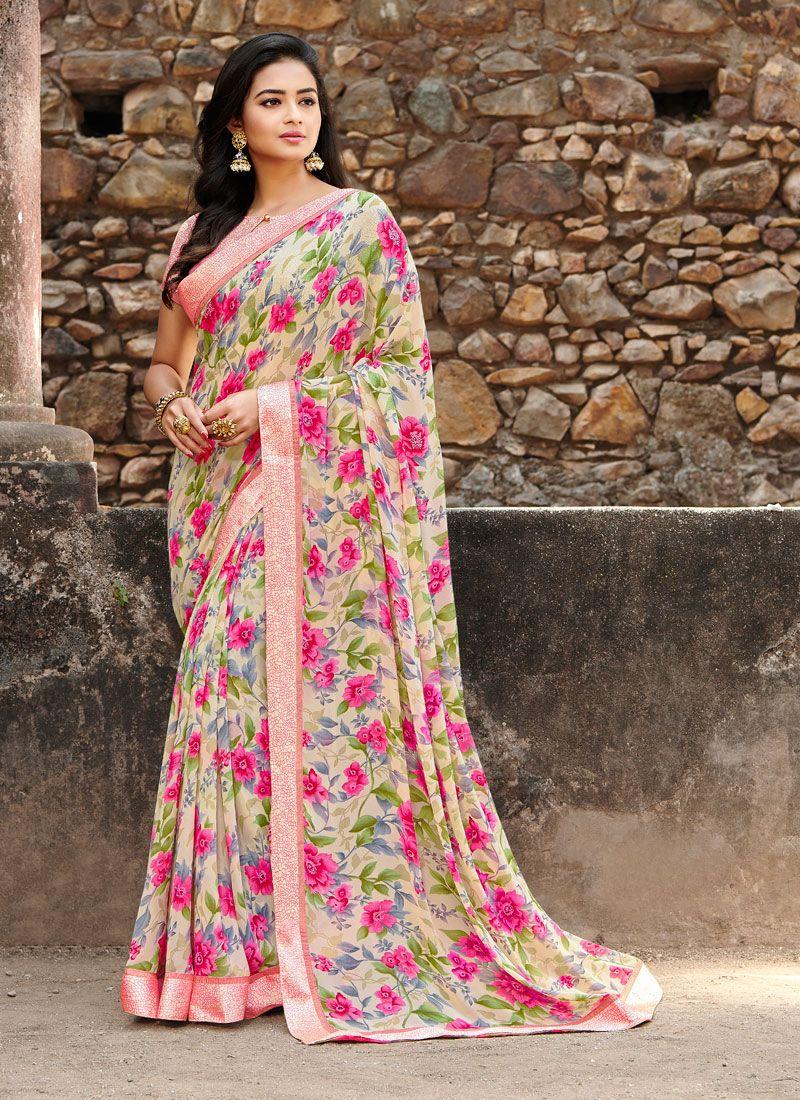 Printed Saree Floral Print Satin Silk in Multi Colour
