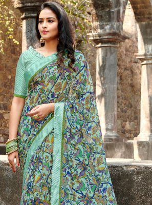 Printed Saree Floral Print Satin Silk in Multi Colour