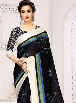 Printed Saree Print Art Silk in Black