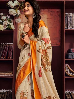 Printed Saree Printed Cotton in Cream
