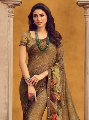 Printed Saree Printed Georgette in Brown
