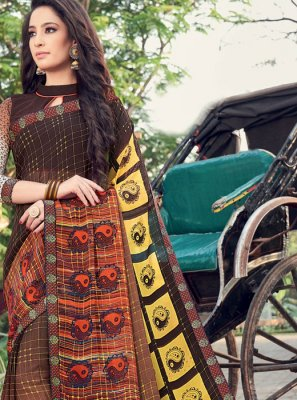 Printed Saree Printed Georgette in Multi Colour