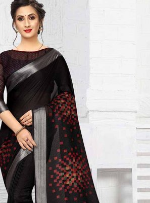 Printed Saree Printed Linen in Black