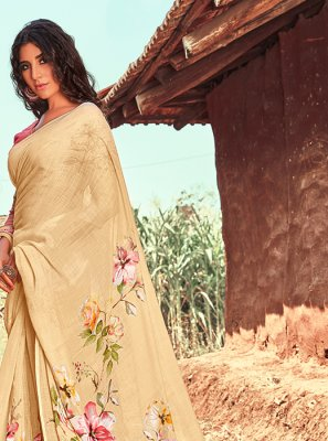 Printed Saree Printed Linen in Cream