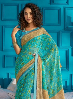 Printed Saree Swarovski Georgette in Blue
