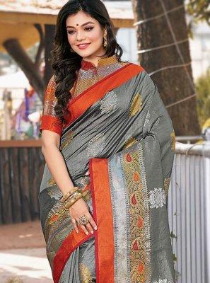 Printed Saree Weaving Handloom silk in Grey