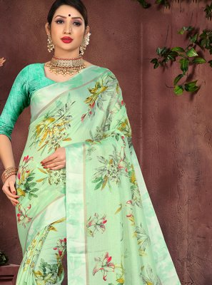 Printed Sea Green Cotton Silk Casual Saree