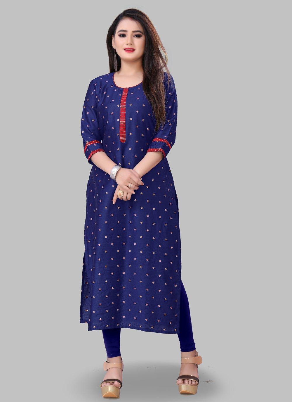 Printed Silk Blue Casual Kurti