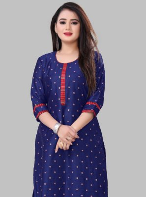 Printed Silk Blue Casual Kurti