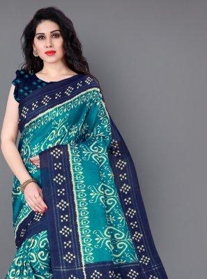 Printed Silk Blue Classic Saree