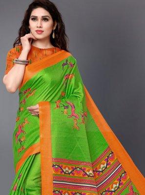Printed Silk Casual Saree in Multi Colour