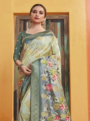 Printed Silk Classic Designer Saree in Multi Colour
