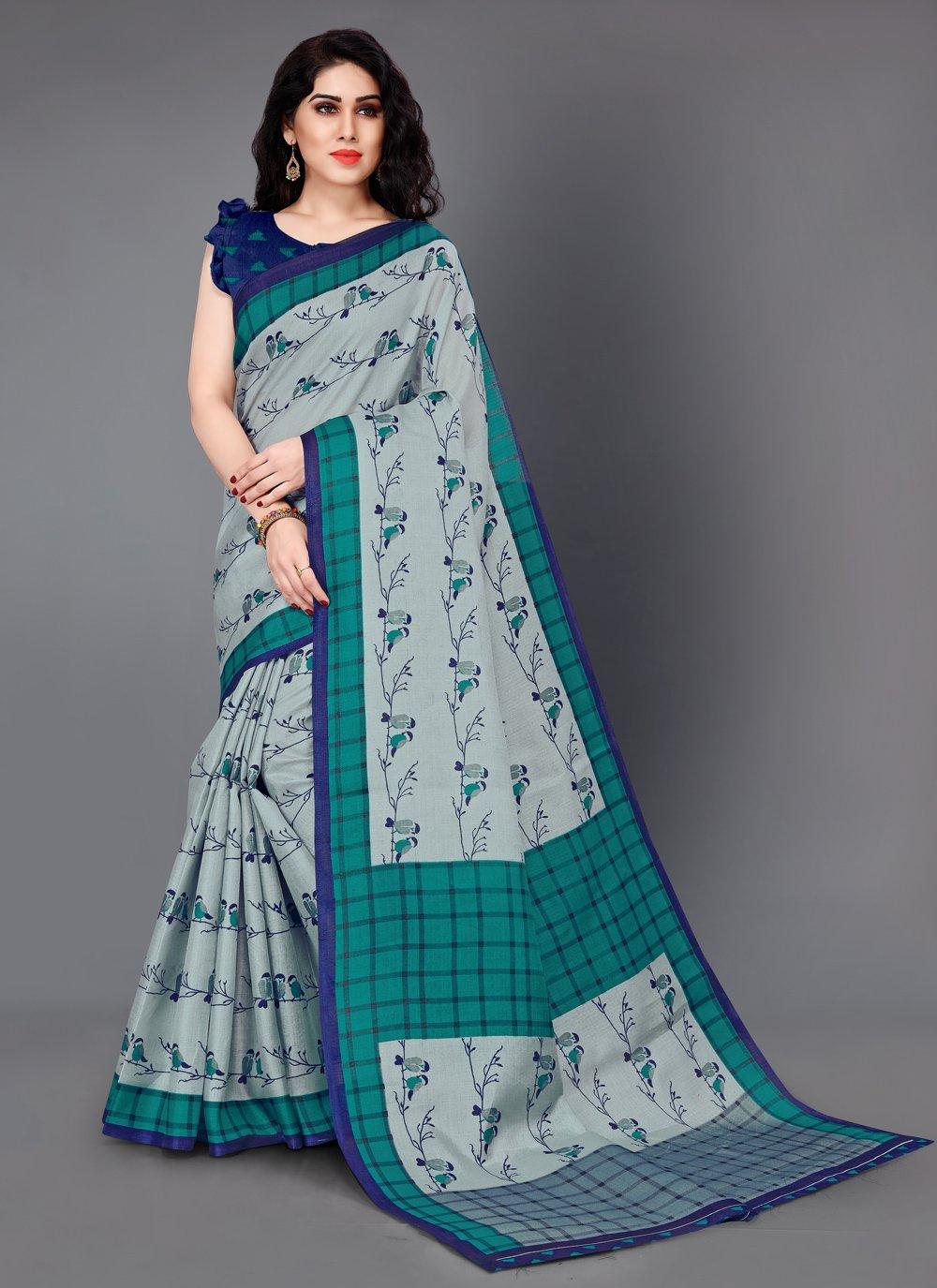 Printed Silk Grey Classic Saree
