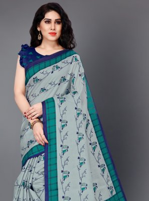 Printed Silk Grey Classic Saree